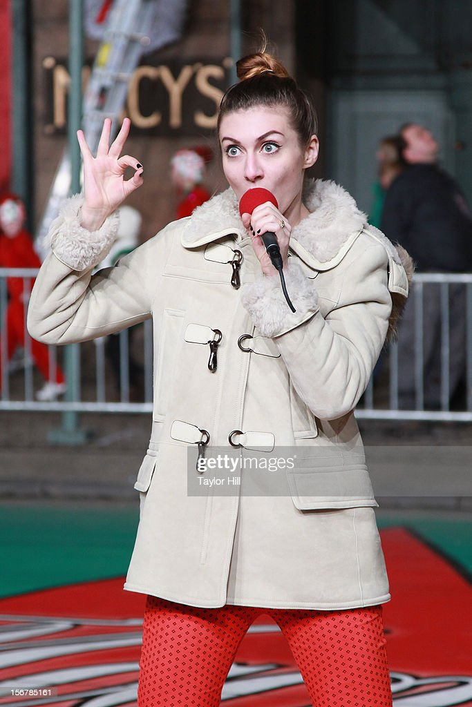 Amy Heidemann of Karmin performs during day two of the 86th Anniversary Macy's Thanksgiving Day Parade Rehearsals at Macy's Herald Square on November 20, 2012 in New York City.