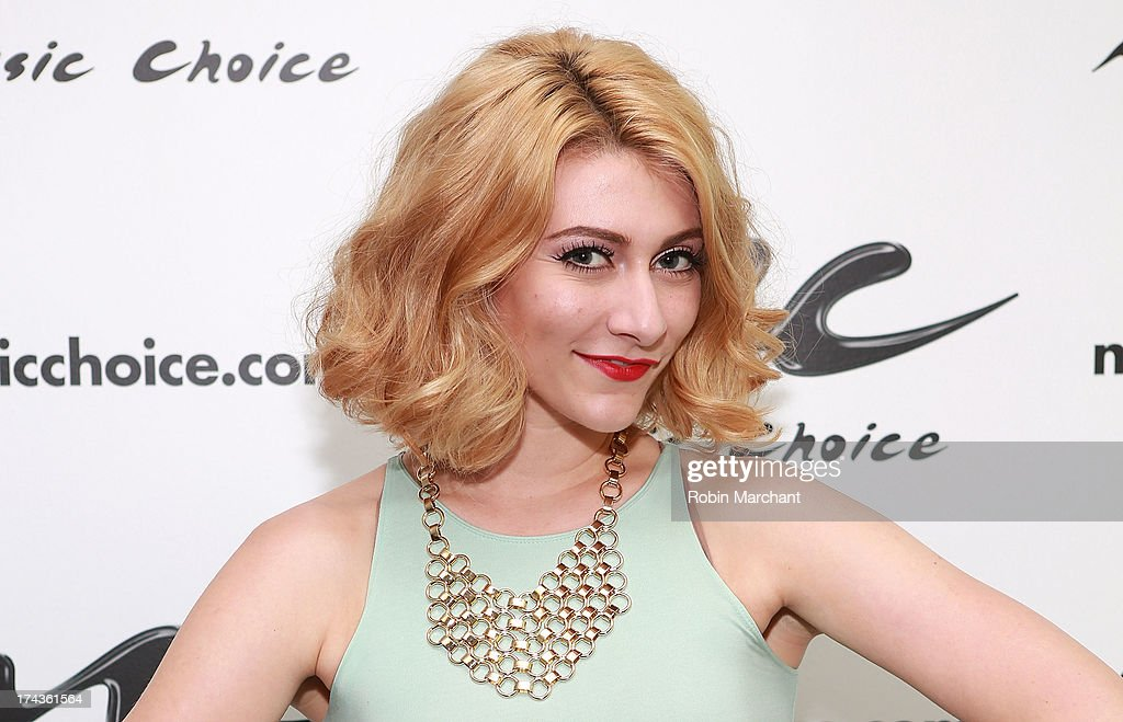 Amy Heidemann of Karmin visits at Music Choice on July 24, 2013 in New York City.