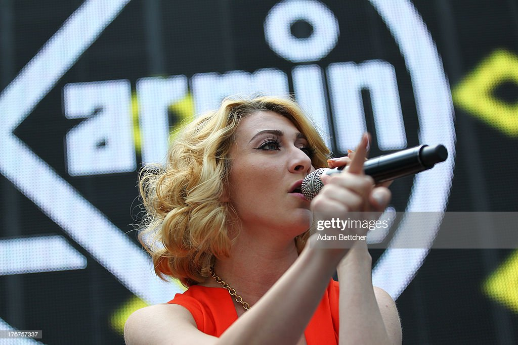 Amy Heidemann of the band Karmin performs at the KDWB soundlounge on August 16, 2013 at Mall of America in Bloomington, Minnesota.