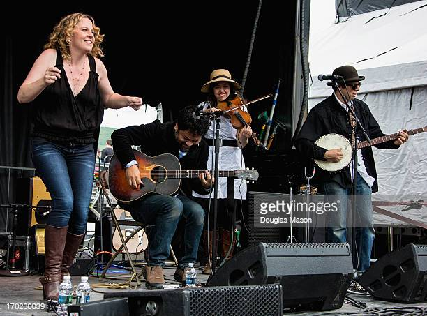 Amy Helm Dan Littleton Conner Kennedy Ruthy Ungar and Mike Mireuda of the Amy Helm Band perform during the 9th Annual Mountain Jam at Hunter Mountain...