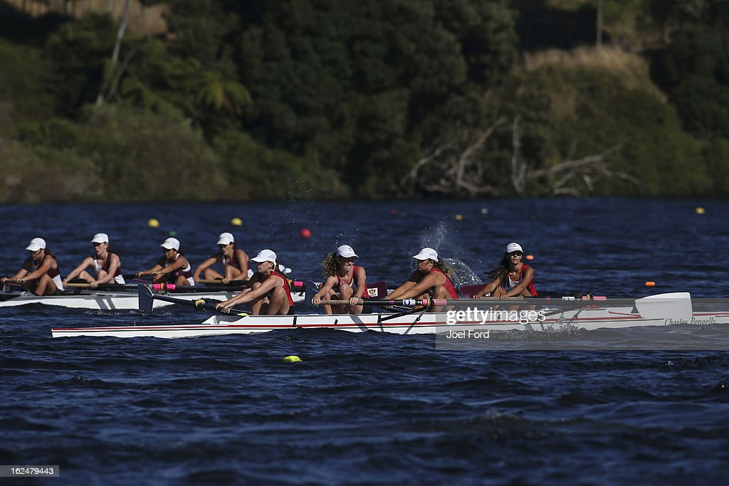 Amy Henderson, Georgia Malbon, Lucy Gilbert, Laura Younger of Westlake Girls High compete in the girls under-15 coxed quadruple four final during the New Zealand Junior Rowing Regatta on February 24, 2013 in Auckland, New Zealand.