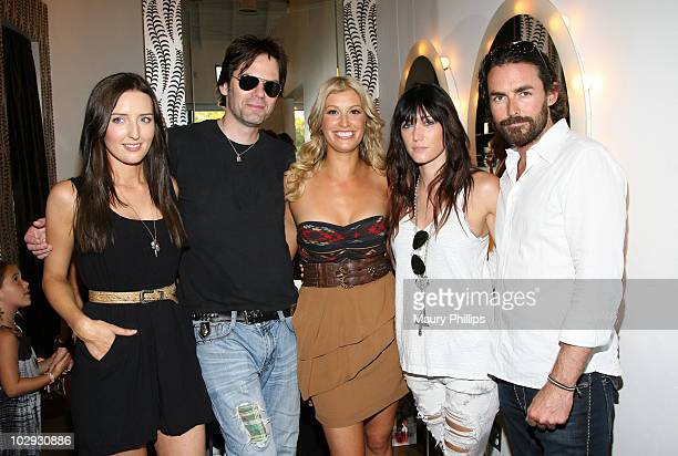 Amy Hollier cofounder of Luxe Beauty Team Billy Burke Sarah Uslan cofounder of Luxe Beauty Team Polly Burke and Ian Duncan attend the Amica Style...