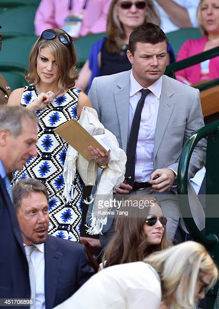 Amy Huberman and Brian O'Driscoll attend the semifinal match between Novak Djokovic and Grigor Dimitrov on centre court at The Wimbledon...