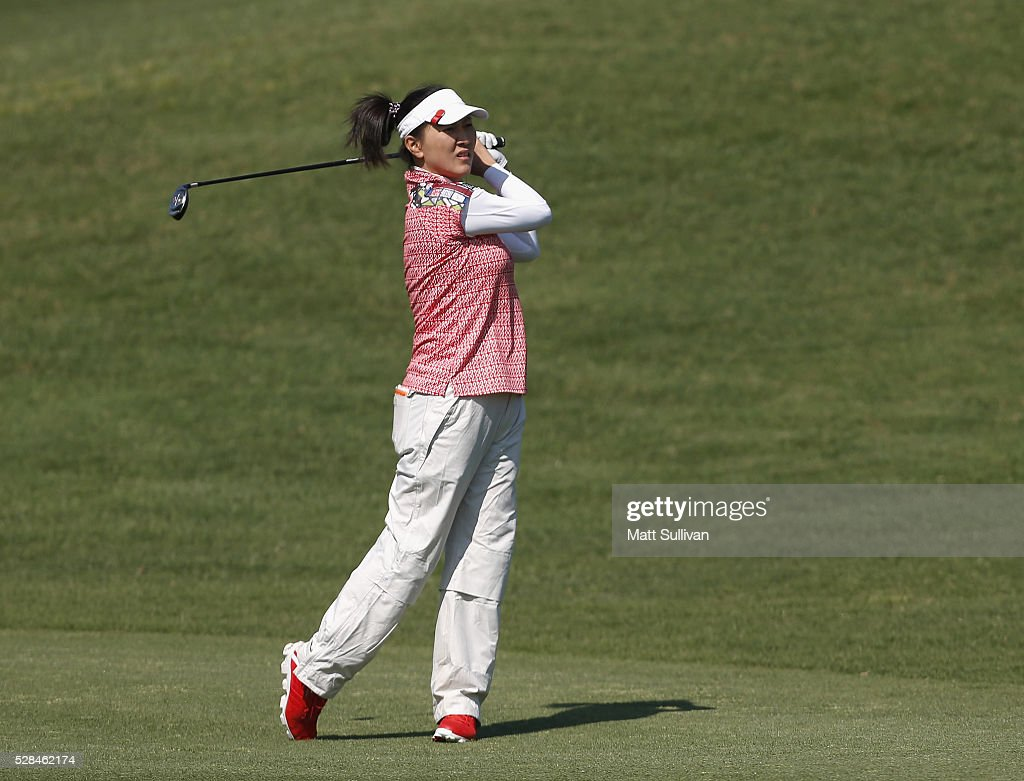 <a gi-track='captionPersonalityLinkClicked' href=/galleries/search?phrase=Amy+Hung&family=editorial&specificpeople=787186 ng-click='$event.stopPropagation()'>Amy Hung</a> of Chinese Taipei hits her second shot on the third hole during the Yokohama Tire Classic on May 05, 2016 in Prattville, Alabama.