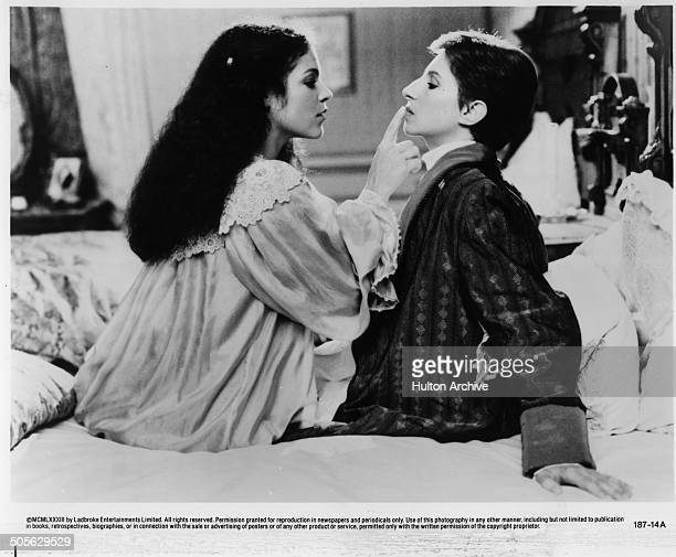 Amy Irving and Barbra Streisand in a touching scene in the movie 'Yentl' circa 1983
