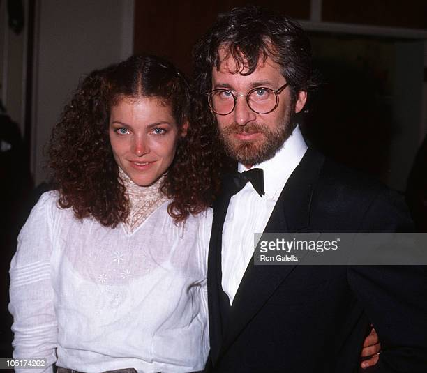 Amy Irving and Steven Spielberg during 56th Annual Academy Awards at Dorothy Chandler Pavilion in Los Angeles California United States