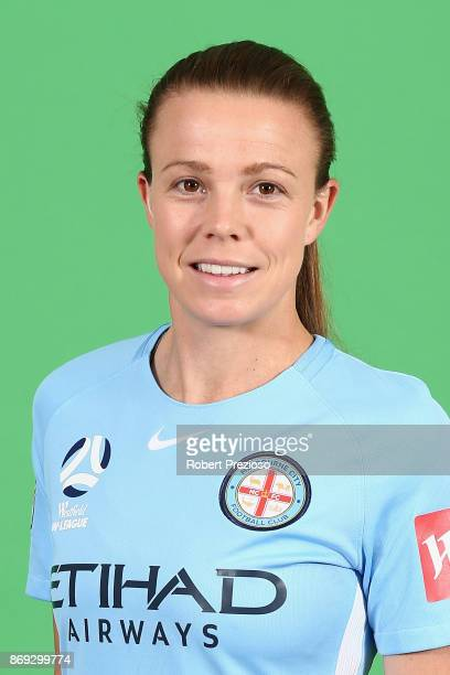 Amy Jackson poses during the Melbourne City WLeague headshots session on November 2 2017 in Melbourne Australia