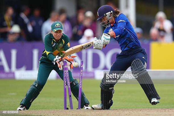 Amy Jones of England is bowled by Sarah Coyte of Australia during the 2nd Royal London ODI of the Women's Ashes Series between England and Australia...