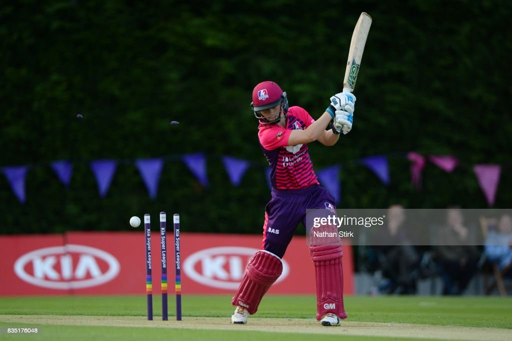 Amy Jones of Loughborough Lightning is bowled during the Kia Super League 2017 match between Loughborough Lightning and Yorkshire Diamonds at The Haslegrave Cricket Ground on August 18, 2017 in Loughborough, England.