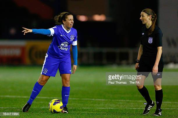 Amy Kane of Everton gestures towards referee Sian Massey during the FA WSL Continental Cup match between Liverpool Ladies FC v Everton Ladies FC at...