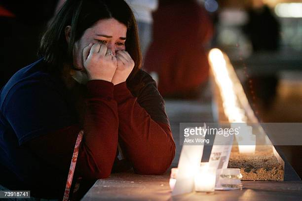 Amy Kaplan of Fairfax Virginia a 2006 Virginia Tech graduate mourns her friend Caitlin Hammaren a victim of the Virginia Tech shooting rampage during...