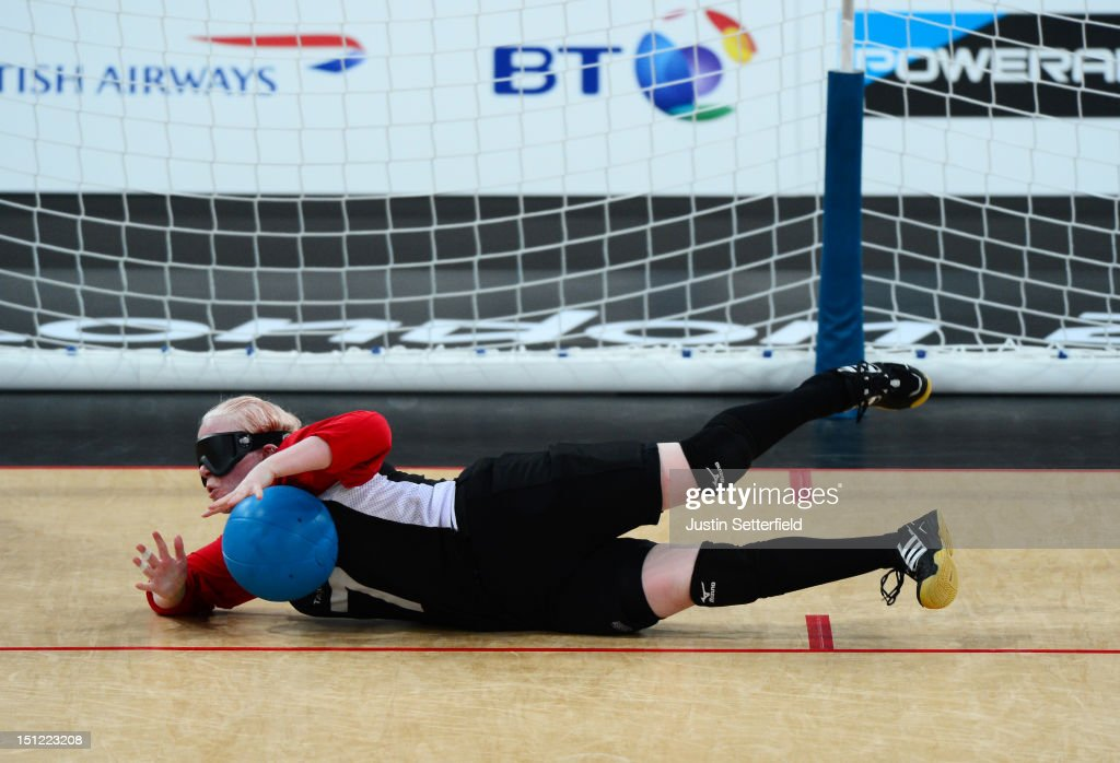 Amy Kneebone of Canada (7) saves a throw during the Women's Team Goalball preliminary round match between United States and Canada on Day 6 of the London 2012 Paralympic Games at the Copper Box in the Olympic Park on September 4, 2012 in London, England. Canada went on to win the match 1-0.