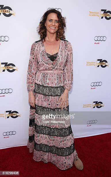 Amy Landecker attends Television Academy's 'Transparent Anatomy Of An Episode' at The Theatre at Ace Hotel on March 17 2016 in Los Angeles California
