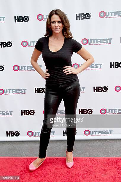 Amy Landecker attends the 2014 Outfest Los Angeles panel discussion of 'Transparent' at DGA Theater on July 19 2014 in Los Angeles California