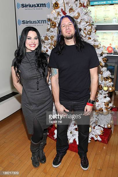 Amy Lee of Evanescence and Troy McLawhorn of Evanescence visit SiriusXM Studio to perform on 'Artist Confidential' on December 7 2011 in New York City