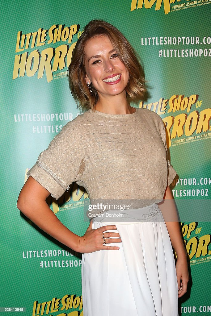 Amy Lehpamer arrives ahead of the opening night for the Little Shop of Horrors at the Comedy Theatre on May 5, 2016 in Melbourne, Australia.
