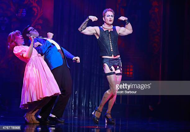 Amy Lehpamer as Janet Stephen Mahy as Brad and Craig McLachlan as Frank N Furter perform during a 'Rocky Horror Show' Media Call at the Comedy...