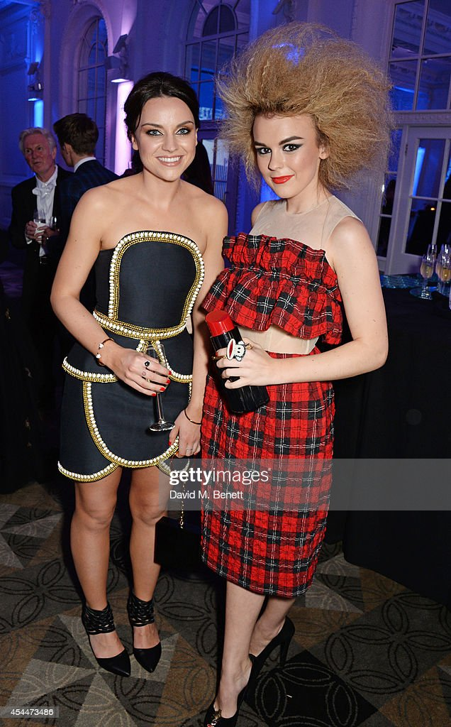 Amy Macdonald (L) and Tallia Storm arrive at the Scottish fashion invasion of London at the 9th annual Scottish Fashion Awards at 8 Northumberland Avenue on September 1, 2014 in London, England.