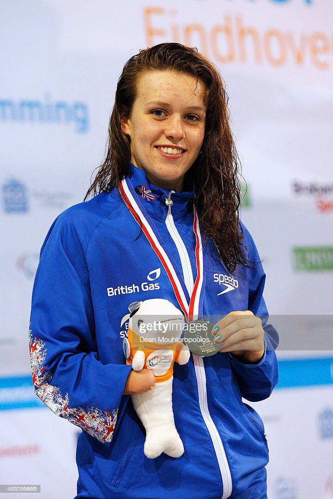Amy Marren of Great Britain poses after winning silver in the Women's 100m Freestyle S9 Final during the IPC Swimming European Championships held at the Pieter van den Hoogenband Swimming Stadium on August 6, 2014 in Eindhoven, Netherlands.