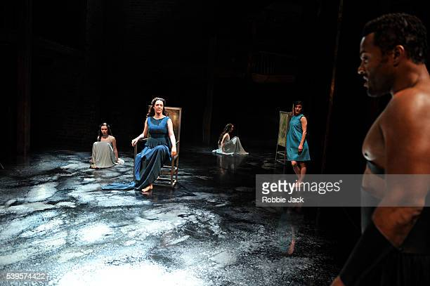 Amy McAllister as Polyxena Derbhle Crotty as Hecuba Nadia Albina as Cassandra and Ray Fearon as Agamemnon in the Royal Shakespeare Company's...