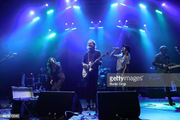 Amy Millan Kevin Drew and Emily Haines of Broken Social Scene perform at O2 Academy Brixton on May 24 2017 in London England