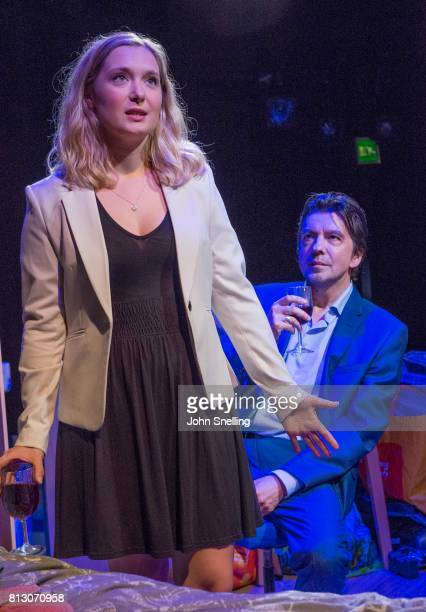 Amy Morgan as Dee and James Clyde as Miles perform on stage during performance of the 'Touch' a new play written and directed by Vicky Jones at Soho...