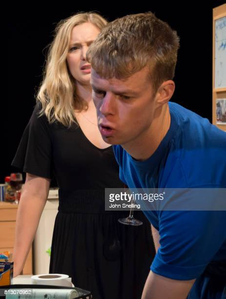 Amy Morgan as Dee and Matthew Aubrey as Sam perform on stage during performance of the 'Touch' a new play written and directed by Vicky Jones at Soho...