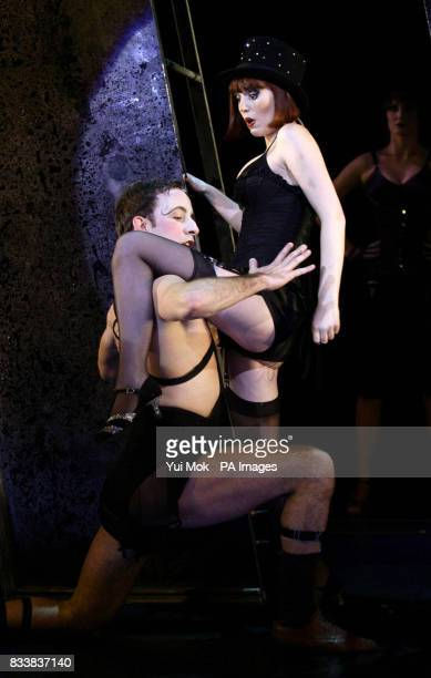 Amy Nuttall with a cast member during a photocall for the musical Cabaret at the Lyric Theatre in central London