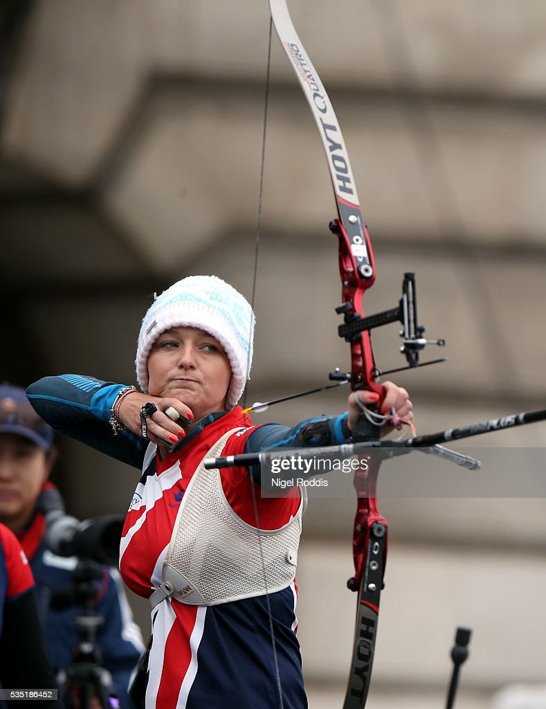 Amy Oliver of Britain shoots during the Women's Recurve Bronze medal team match at the European Archery Championship on May 29, 2016 in Nottingham, England.