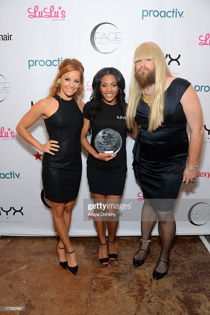 Amy Paffrath, 2013 makeup-up artist/contest winner Missy Lynn and P'Trique attend the NYX Cosmetics FACE Awards at Beautycon at Siren Studios on August 24, 2013 in Hollywood, California.
