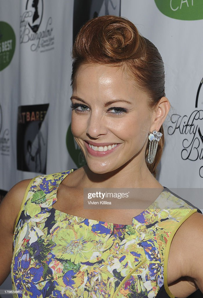 <a gi-track='captionPersonalityLinkClicked' href=/galleries/search?phrase=Amy+Paffrath&family=editorial&specificpeople=2270596 ng-click='$event.stopPropagation()'>Amy Paffrath</a> attends 'CATberet' - A Musical Review For Local Cat And Kitten Rescue Center Kitty Bungalow Charm School For WaywardCats at Belasco Theatre on August 4, 2013 in Los Angeles, California.
