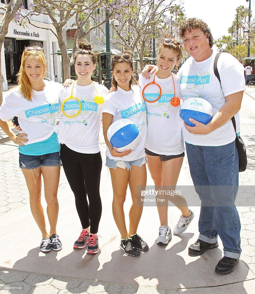 Amy Paffrath, Genevieve Farrell, Josie Loren, Jessica Stroup and Dot Jones attend the American Cancer Society's 'Choose Your Movement' event held at 3rd Street Promenade on May 11, 2012 in Santa Monica, California.