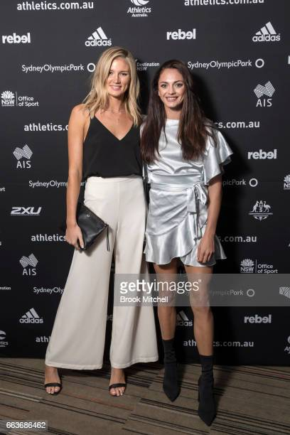 Amy Pejkovic and Ella Nelson arrives ahead of the Australian Athletics Gala at Novotel Sydney Olympic Park on April 2 2017 in Sydney Australia