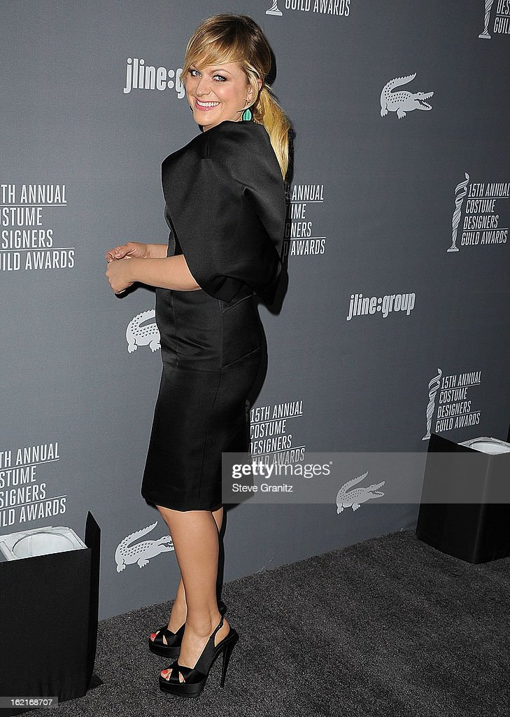 Amy Poehler arrive at the 15th Annual Costume Designers Guild Awards at The Beverly Hilton Hotel on February 19, 2013 in Beverly Hills, California.