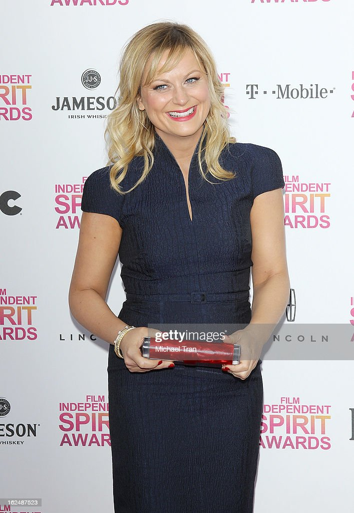 <a gi-track='captionPersonalityLinkClicked' href=/galleries/search?phrase=Amy+Poehler&family=editorial&specificpeople=228430 ng-click='$event.stopPropagation()'>Amy Poehler</a> arrives at the 2013 Film Independent Spirit Awards held on February 23, 2013 in Santa Monica, California.