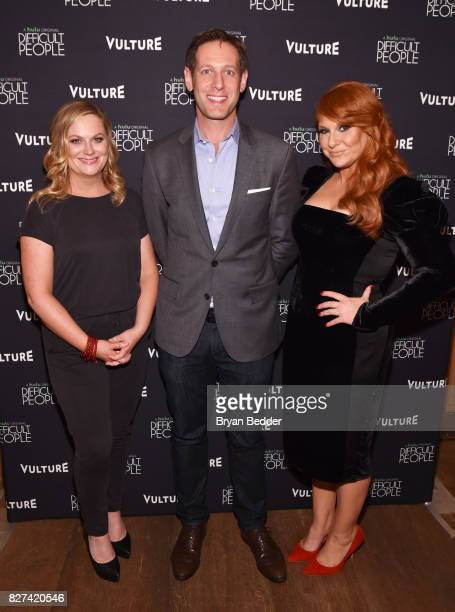Amy Poehler Avi Zimak and Julie Klausner attend Vulture Hulu's screening of 'Difficult People' on August 7 2017 in New York City