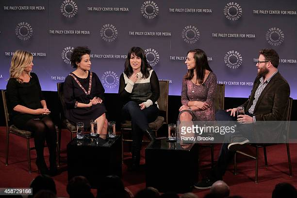 Amy Poehler Ilana Glazer Abbi Jacobson Lucia Aniello and Seth Rogen attend 'Id Isn't Always Pretty An Evening with Broad City' Panel Discussion at...