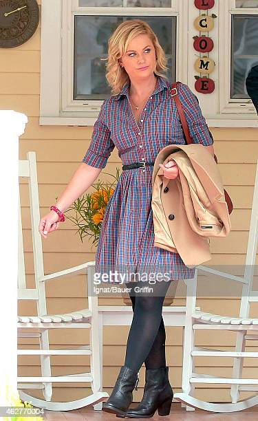 Amy Poehler is seen on the movie set of 'They Came Together' on August 03 2012 in New York City