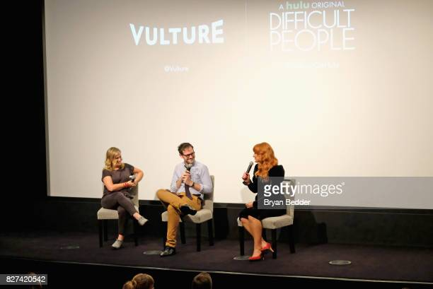 Amy Poehler Jesse David Fox and Julie Klausner speak onstage during Vulture Hulu's screening of 'Difficult People' on August 7 2017 in New York City