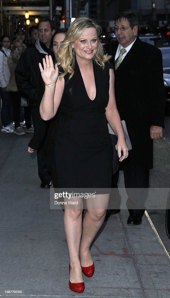 Amy Poehler leaves 'The Late Show with David Letterman' at Ed Sullivan Theater on November 20, 2012 in New York City.
