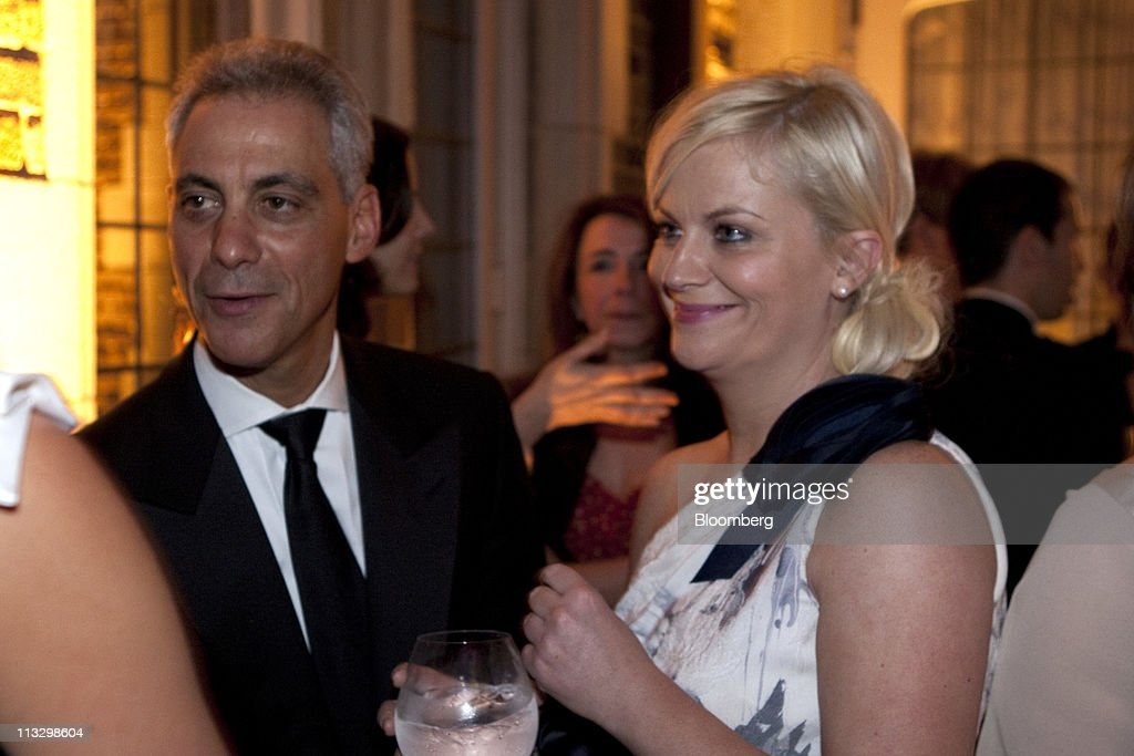 <a gi-track='captionPersonalityLinkClicked' href=/galleries/search?phrase=Amy+Poehler&family=editorial&specificpeople=228430 ng-click='$event.stopPropagation()'>Amy Poehler</a>, right, and <a gi-track='captionPersonalityLinkClicked' href=/galleries/search?phrase=Rahm+Emanuel&family=editorial&specificpeople=753774 ng-click='$event.stopPropagation()'>Rahm Emanuel</a>, mayor-elect of Chicago, attend the the Bloomberg Vanity Fair White House Correspondents' Association (WHCA) dinner afterparty in Washington, D.C., U.S., on Saturday, April 30, 2011. The dinner raises money for WHCA scholarships and honors the recipients of the organization's journalism awards. Photographer: Joshua Roberts/Bloomberg via Getty Images