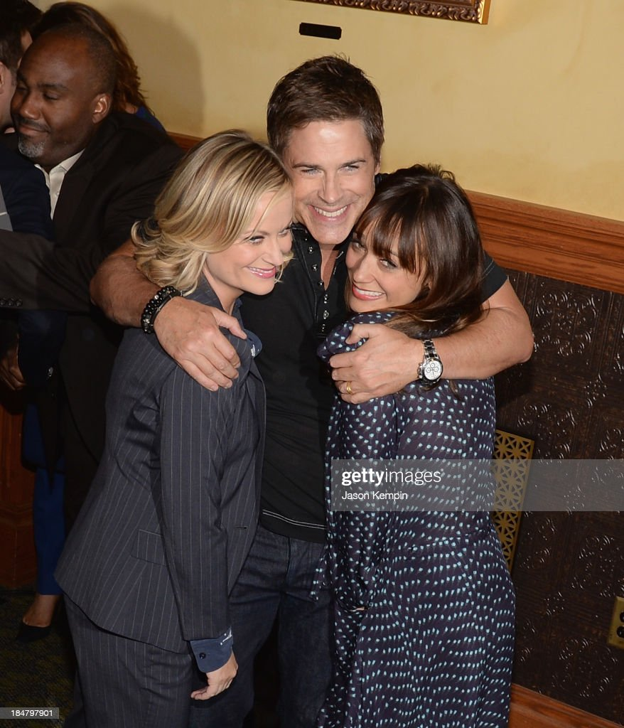 <a gi-track='captionPersonalityLinkClicked' href=/galleries/search?phrase=Amy+Poehler&family=editorial&specificpeople=228430 ng-click='$event.stopPropagation()'>Amy Poehler</a>, <a gi-track='captionPersonalityLinkClicked' href=/galleries/search?phrase=Rob+Lowe&family=editorial&specificpeople=211607 ng-click='$event.stopPropagation()'>Rob Lowe</a> and <a gi-track='captionPersonalityLinkClicked' href=/galleries/search?phrase=Rashida+Jones&family=editorial&specificpeople=2133481 ng-click='$event.stopPropagation()'>Rashida Jones</a> attend the NBC 'Parks And Recreation' 100th Episode Celebration at CBS Studios - Radford on October 16, 2013 in Studio City, California.