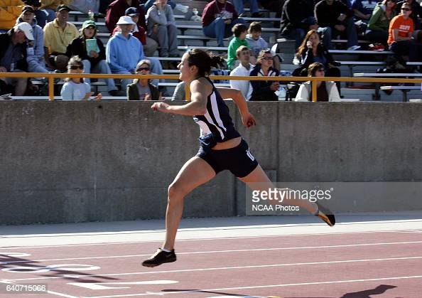 Amy Reed a senior from Messiah College hits the finish line in the 200 meter run as part of the heptathlon competition during the Women's Outdoor...