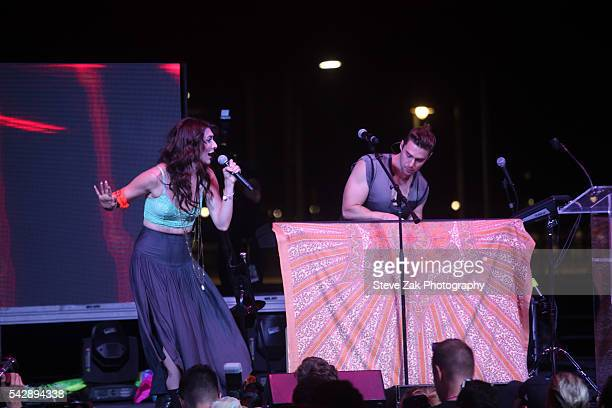 Amy Renee HeidemannNoonan and Nick Noonan of 'Karmin' perform at New York City Pride 2016 The Rally at Pier 26 on June 24 2016 in New York City