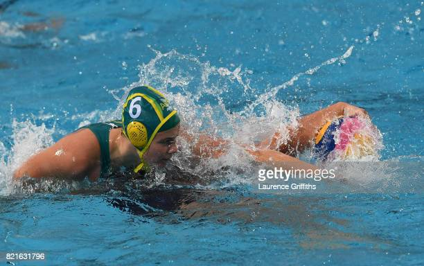 Amy Ridge of Australia grabs the ball during the Women's Water Polo Quarter final match against The United States on day eleven of the Budapest 2017...