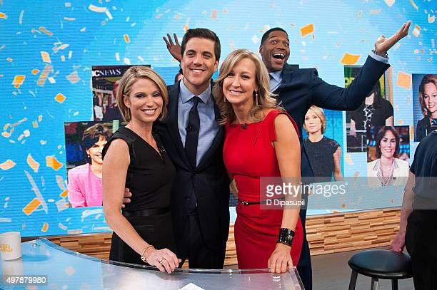 Amy Robach Josh Elliott Lara Spencer and Michael Strahan attend 'Good Morning America's' 40th Anniversary at GMA Studios on November 19 2015 in New...