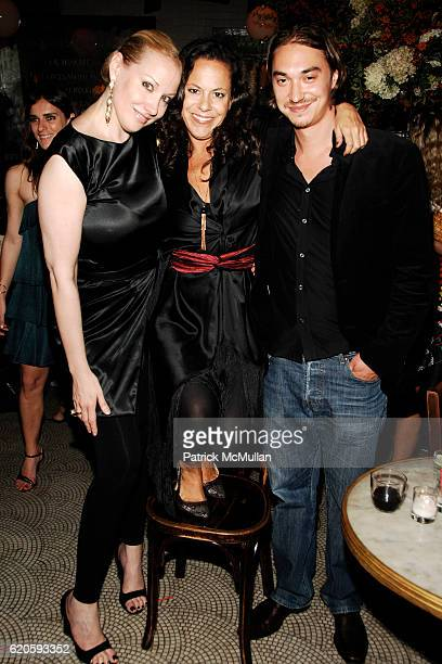 Amy Sacco Bebel Gilberto and Andrew Lassetter attend Private Dinner hosted by CARLOS JEREISSATI CEO of IGUATEMI at Pastis on September 6 2008 in New...