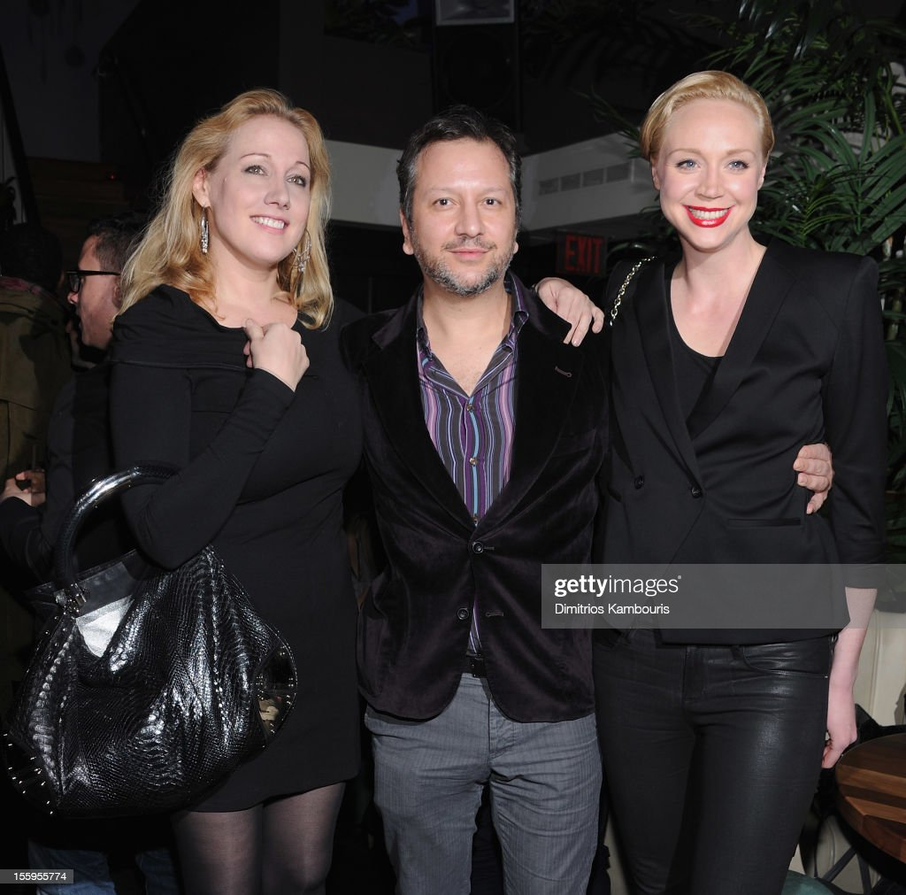 <a gi-track='captionPersonalityLinkClicked' href=/galleries/search?phrase=Amy+Sacco&family=editorial&specificpeople=215138 ng-click='$event.stopPropagation()'>Amy Sacco</a>, director Sebastian Gutierrez and Gwendoline Christie attend the after party for the Gato Negro Films & The Cinema Society screening of 'Hotel Noir' at No. 8 on November 9, 2012 in New York City.