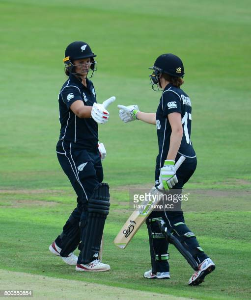 Amy Satterthwaite and Suzie Bates of New Zealand embrace during the ICC Women's World Cup 2017 match between New Zealand and Sri Lanka at the...