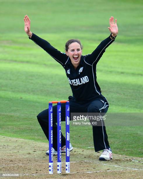 Amy Satterthwaite of New Zealand appeals during the ICC Women's World Cup 2017 match between New Zealand and Sri Lanka at the Brightside Ground on...